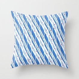 Candy Cane Blue Stripes Holiday Pattern Throw Pillow