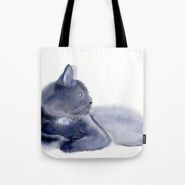 """""""The queen has arrived"""" Expressive Cat Watercolor Painting Tote Bag"""