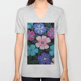 Bohemian Floral Print Unisex V-Neck