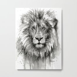 Lion Watercolor Animal Metal Print