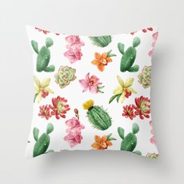 Watercolor Cacti Pattern Throw Pillow