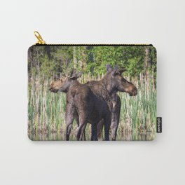 Moose Mates Crossing a Lake Carry-All Pouch