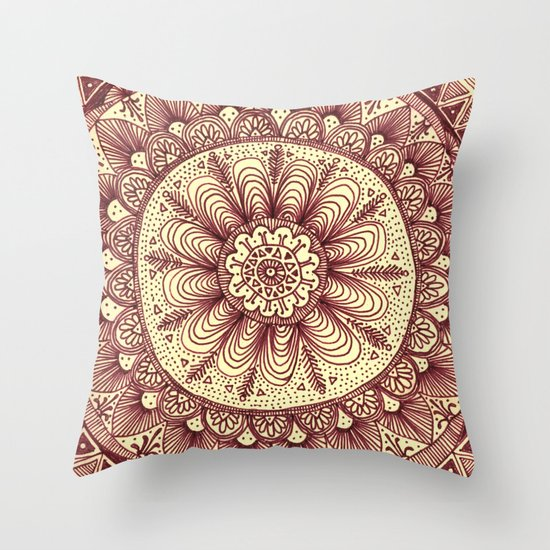 mandala: maroon Throw Pillow