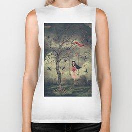 Girl on a swing in the woods Biker Tank