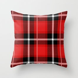 Red + Black Plaid Throw Pillow