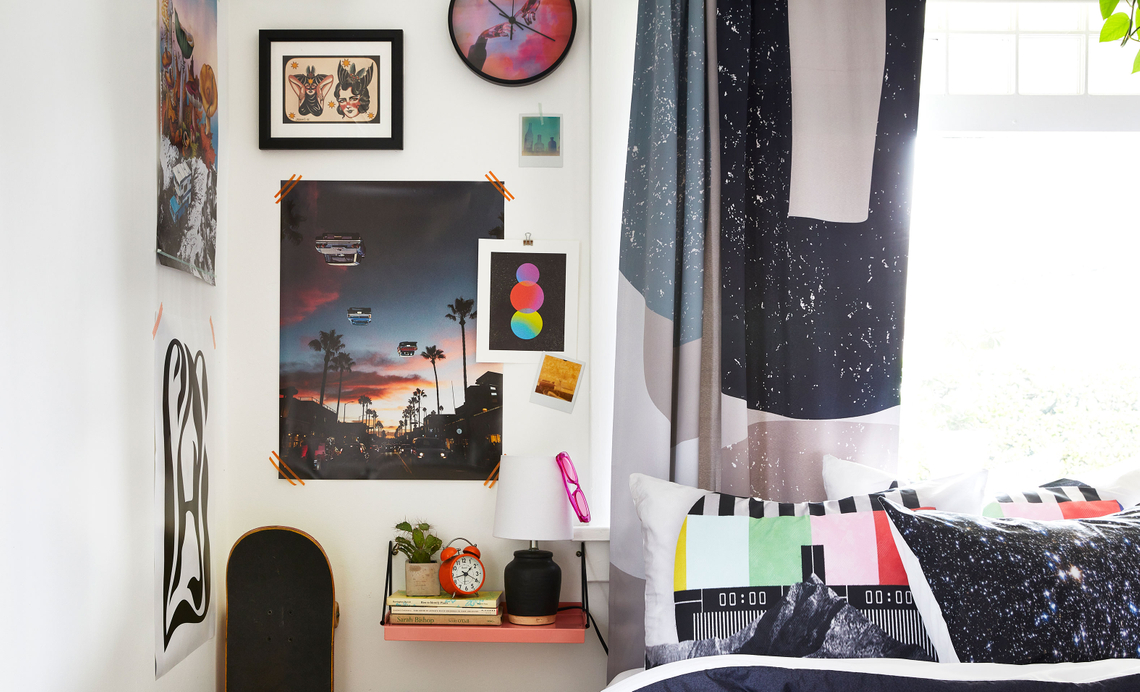 bedroom with trippy decor