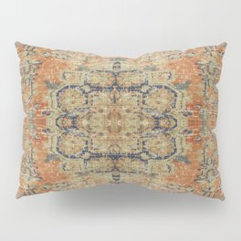 Vintage Woven Coral and Blue Kilim Pillow Sham