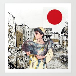 A Child With a Lamb in Aleppo Art Print