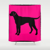 lab Shower Curtains featuring lab silhouette by Vintage Fox