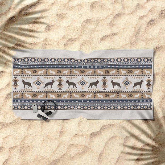 Boho Dogs German Shepherd Pattern Tan Beach Towel By