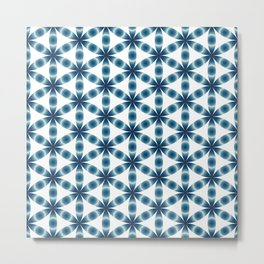 Blue seed of life pattern Metal Print