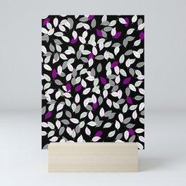 Asexual Pride Scattered Leaves Pattern Mini Art Print