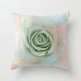 Elegant Painterly Mint Green Rose Abstract Throw Pillow