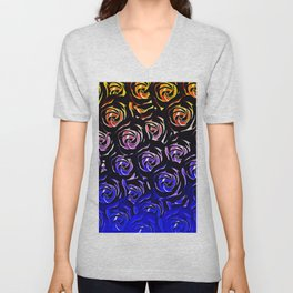 rose pattern texture abstract background in blue and red Unisex V-Neck
