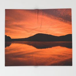 Dawn on Fire: Lac du Saint Sacrement Throw Blanket