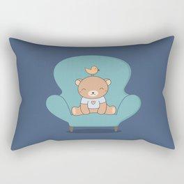 Kawaii Cute Teddy Brown Bear On A Sofa Rectangular Pillow