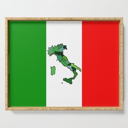 Map of Italy and Italian Flag Serving Tray