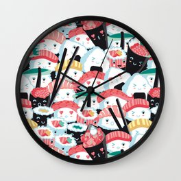 Kawaii Sushi Crowd Wall Clock