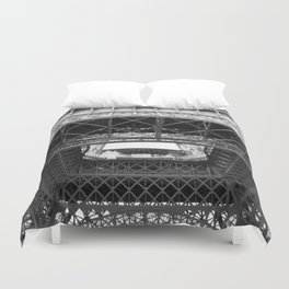 The Eiffeltower iron construction in black and white Duvet Cover