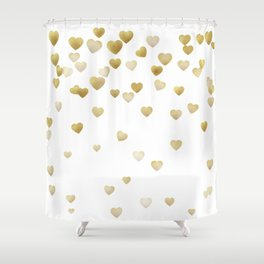 Falling hearts - Gold Shower Curtain