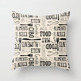 hand lettered food word pattern Throw Pillow