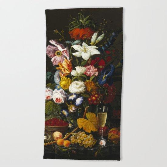 Severin Roesen - Victorian Bouquet Beach Towel