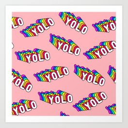 """Patches with rainbow words """"YOLO"""" (you only live once) Art Print"""