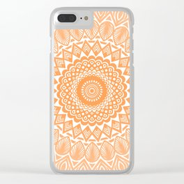 Orange Tangerine Mandala Detailed Textured Minimal Minimalistic Clear iPhone Case