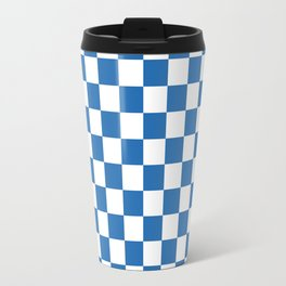 Gingham Azure Strong Blue Checked Pattern Travel Mug