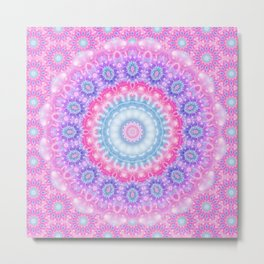 Pink Purple and Light Blue Boho Mandala Metal Print