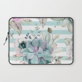 Succulent Garden Striped Succulent Blue Laptop Sleeve