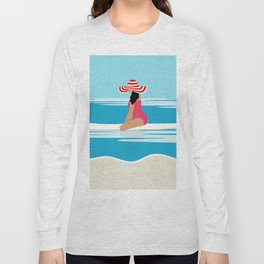 Solo surfing woman Long Sleeve T-shirt
