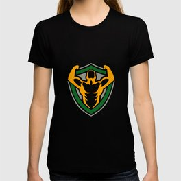 Strongman Flexing Muscles Crest Icon T-shirt