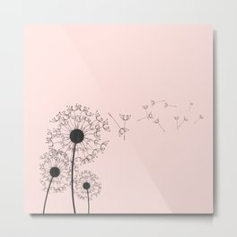 Contemporary Pink Dandelion Drawing Metal Print