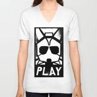starfox V-neck T-shirts featuring Fox McCloud Has A Posse by Shy Guy Street Art