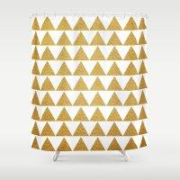 golden Shower Curtains featuring Golden by Sandra Arduini