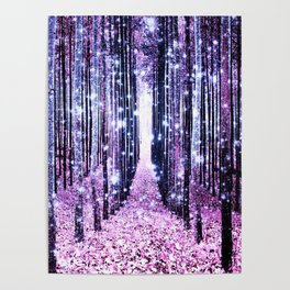 Magical Forest Path Lavender Pink Periwinkle Poster