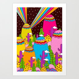 Night Sky Rainbows Art Print