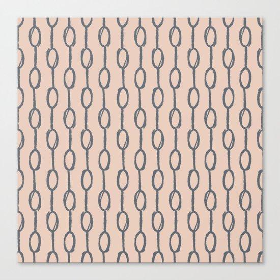 Pebble Dot Stripes Gray on Vintage Rose Pink Canvas Print