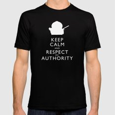 Keep Calm and Respect My Authority Black Mens Fitted Tee LARGE