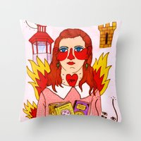 mercedes Throw Pillows featuring Moonrise Kingdom Suzy by Ricardo Cavolo