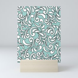 Seamless Floral Pattern Black and White Turquoise Background Mini Art Print