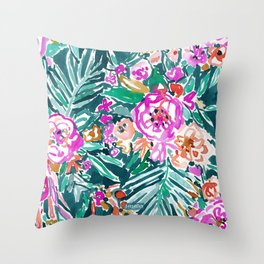 TROPICAL FEELS Begonia Palm Watercolor Pattern Throw Pillow