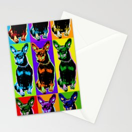 Poster with portrait of a miniature pinscher dog in pop art style Stationery Cards