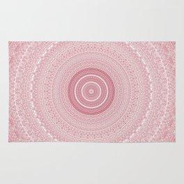 Boho Chic Glittery Pink Pastel Mandala Rug