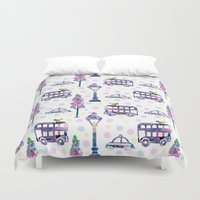 water colour Duvet Covers featuring vintage water colour pattern by mimi betz