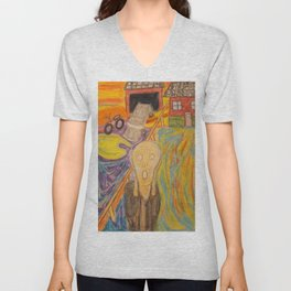 The Scream Personified a watercolor painting Unisex V-Neck