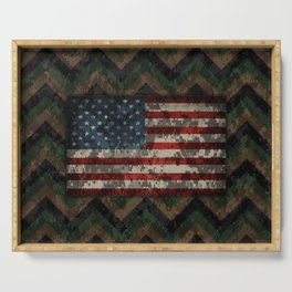 Green and Brown Military Digital Camo Pattern with American Flag Serving Tray