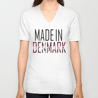 denmark V-neck T-shirts featuring Made In Denmark by VirgoSpice