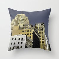 buildings Throw Pillows featuring BUILDINGS by detroit vibes